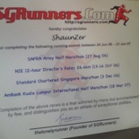 My SGRunners Achievement Certificate!