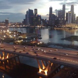 A shot of the Skyline with The Sheares bridge lit