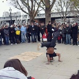 Street performer break dancing