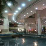 The food court areas nicely themed with fountains