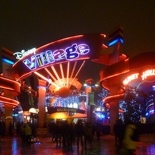 The Disney Village all lit at night