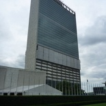 The older, more iconic UN building across the street