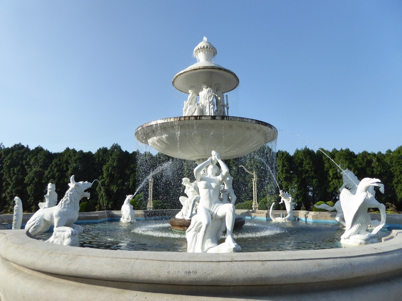 European gardens marble central fountain