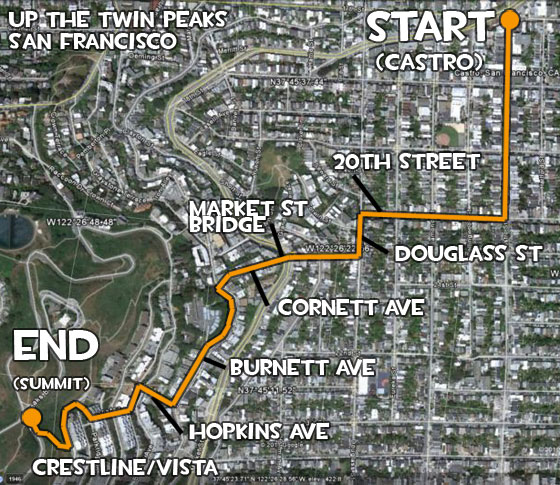 Map from Castro to Twin peaks,  San Francisco