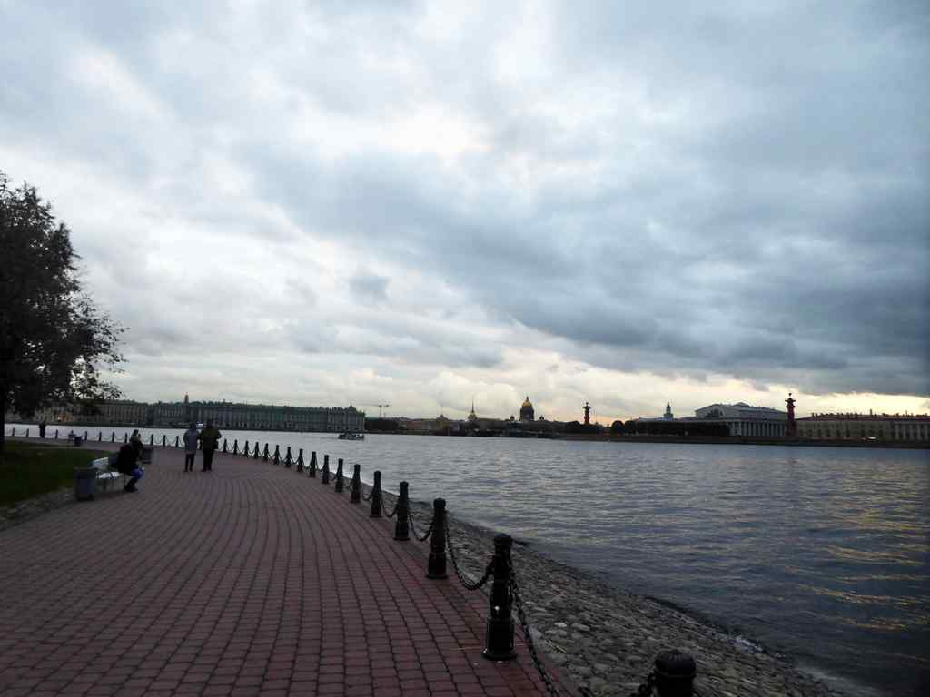 The outer park area of the Paul fortress island, with great views looking out across the Neva River into the downtown St Petersburg