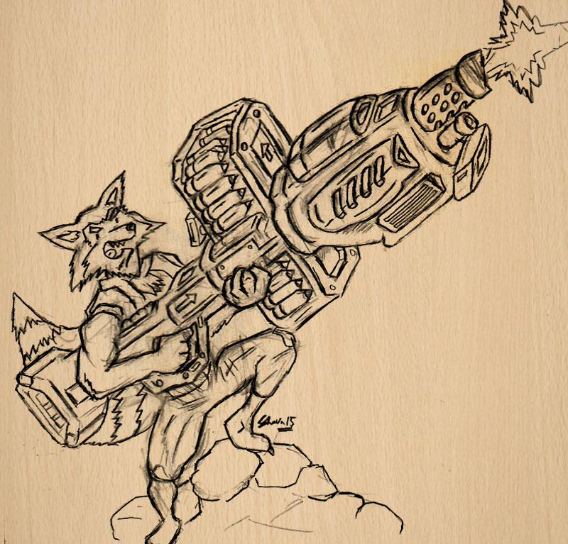 Rocket Raccoon Artwork Sketch Shaunchng
