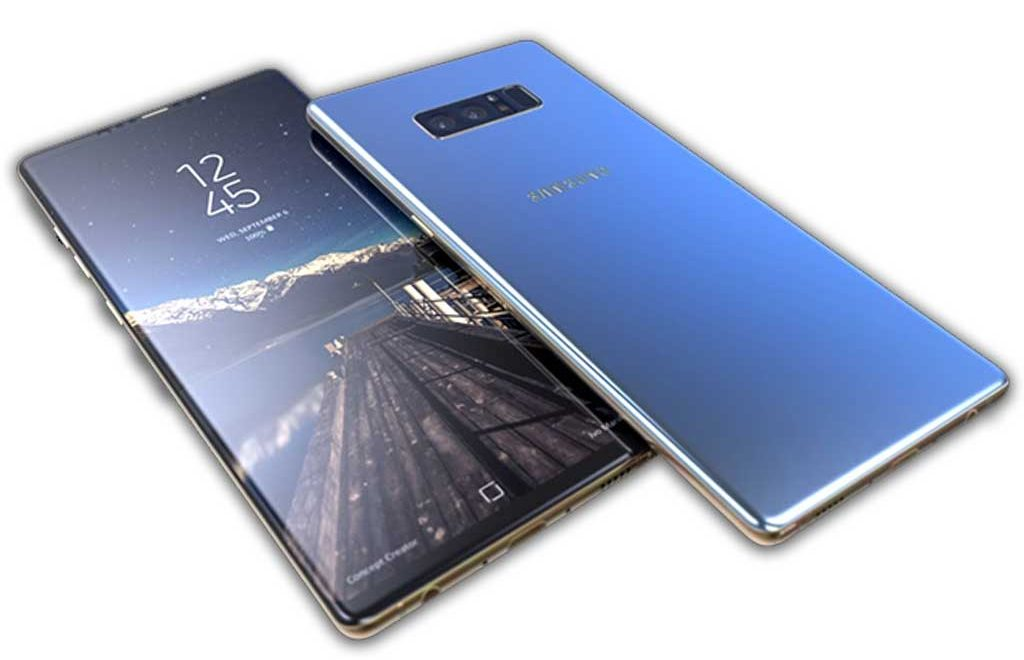 Galaxy Note 8 edge to edge bezels and glass faces