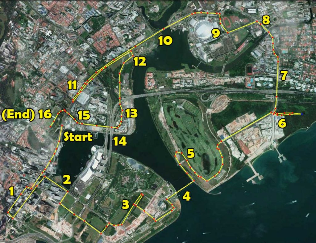 SAFRA Singapore Bay Run 21km Route