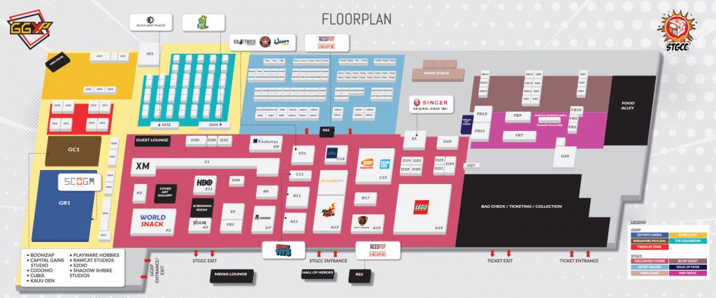 The floor plan of this year's STGCC