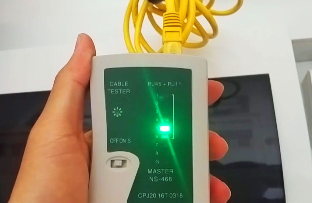The network tester cycling through all 8 pins on the RJ45 interface to ensure your behind wall cables and terminal points are all connected.