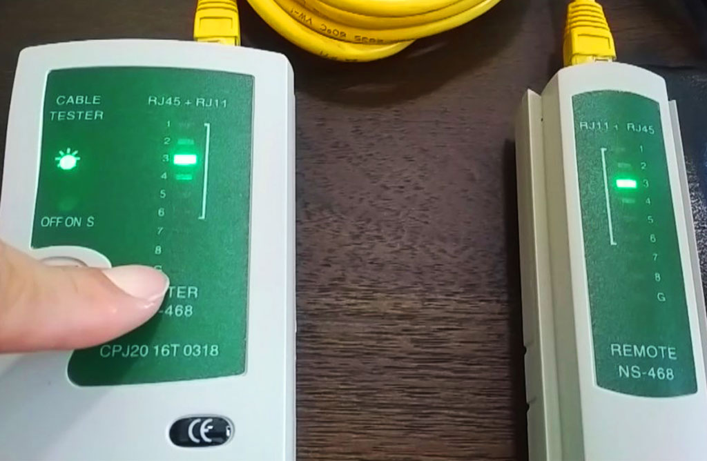 testing home ethernet points with rj45/rj11 cable tester