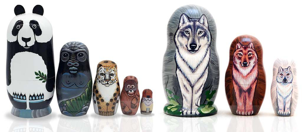 Additionally interesting selections of newer animal-themed Russian matryoshka dolls