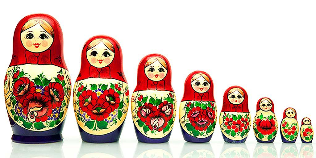 Matryoshka Russian Nested doll. It is a traditional and old national Russian doll of handwork
