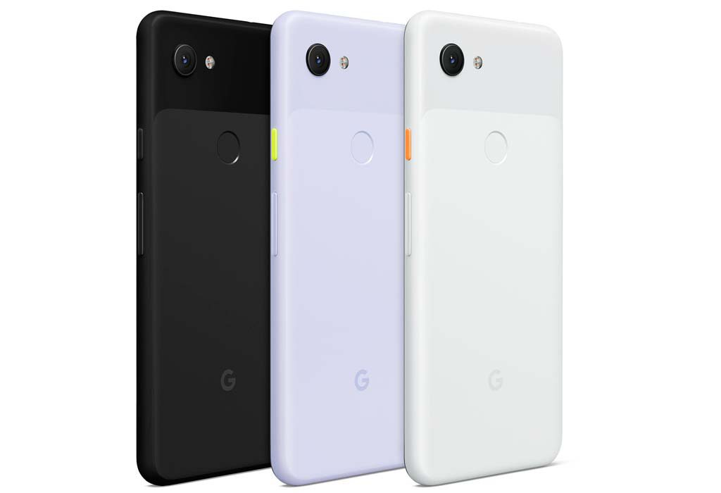 The rear of the Pixel 3a in the 3 different available colours.