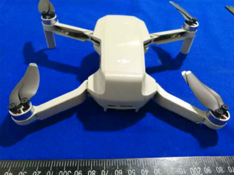 The Rear of the newly leaked DJI Mavic Mini. It is mostly clear at the back with the rear battery housing cover and exposed ports which could be covered by a flap in the final production model