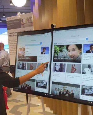 The surface hub, is a collaborative tool for groups to get together and share idea. TH underlying tech is a large surface device on stands