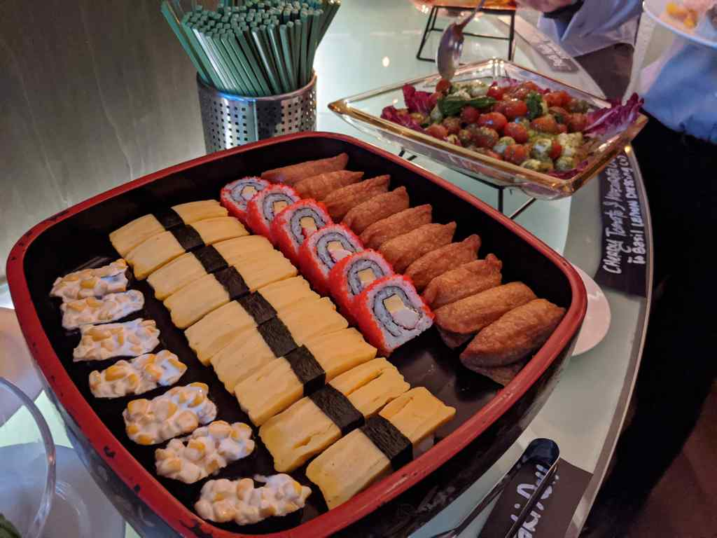 The spread is pretty international, with Sushi, cakes and dessert