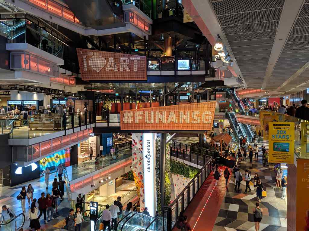 Behind the facade, Funan IT mall is just like any other general mall in town