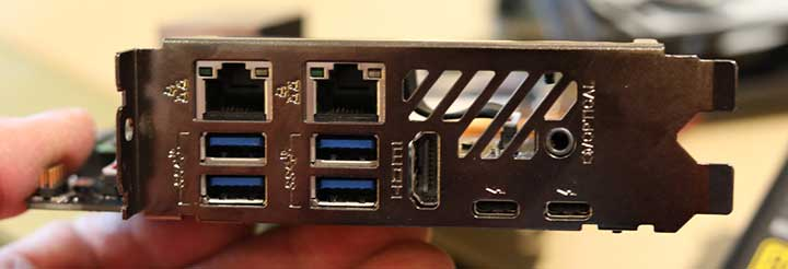 The rear IO ports of the compute element