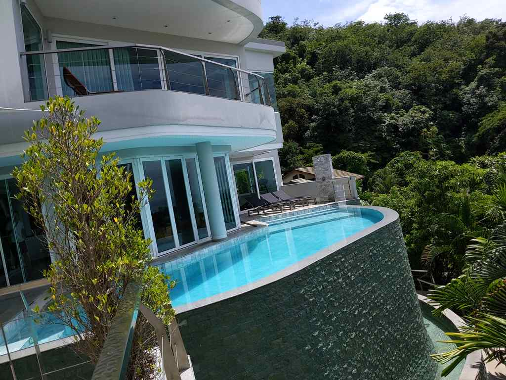 The villa is built on a rather steep hill, offering great views