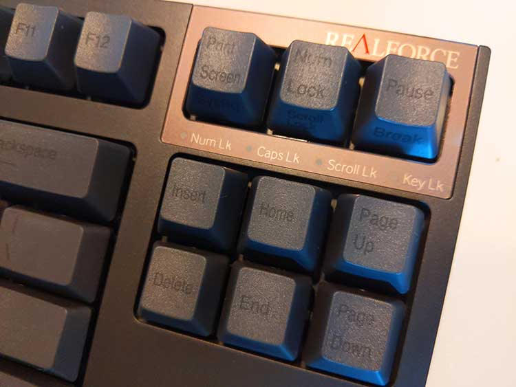 The keyboard has a full sized insert, end delete section with Caps, Scroll and Numpad LED indicators on the top right
