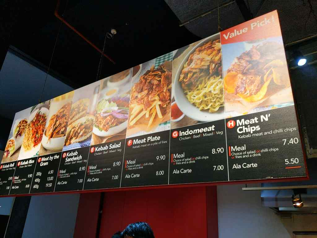 Epikebabs kebabs menu selections in store, including quirky indo mee with kebabs