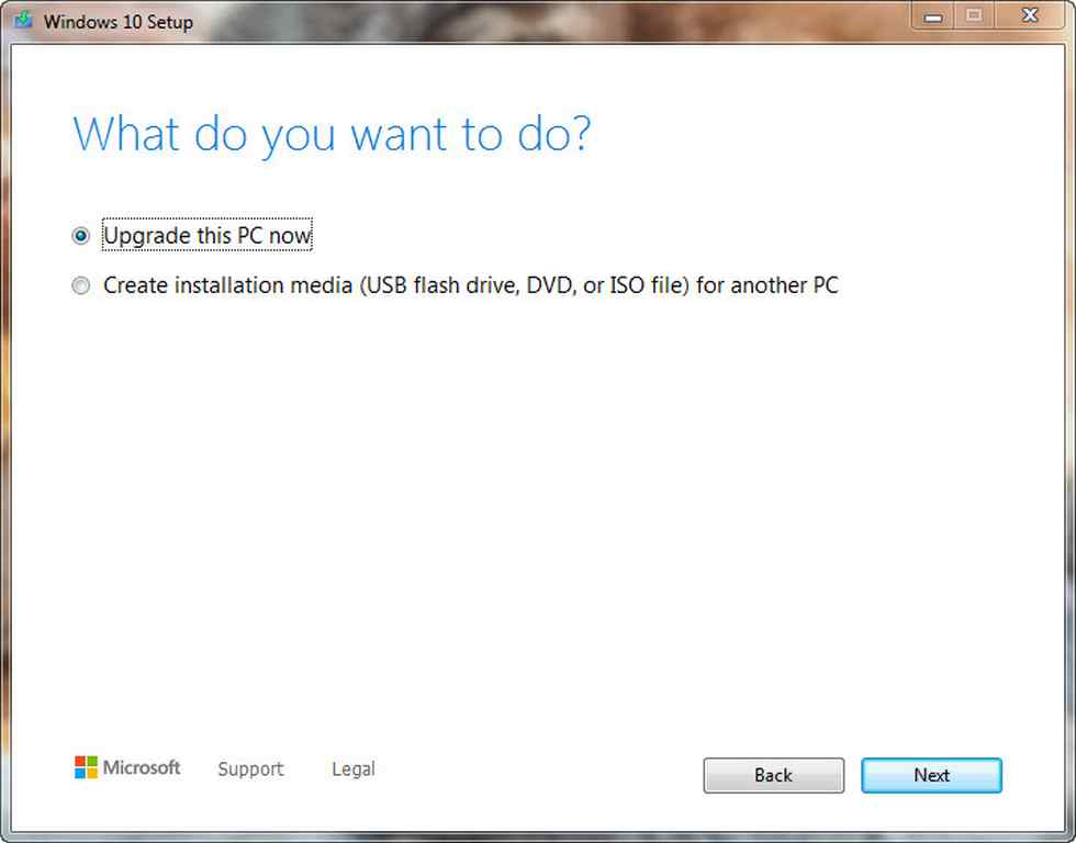 You have an option to create a Windows media or upgrade the PC to Window 10 if the PC is of a lower version.