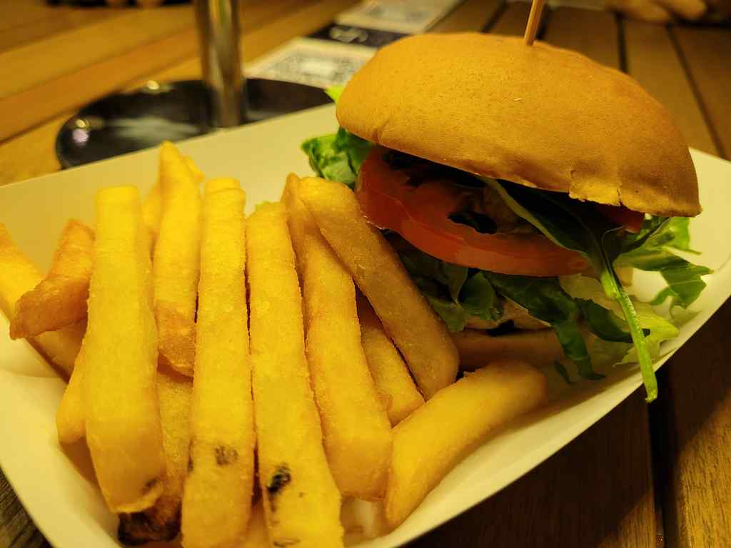 It is recommended to pair your burger to a meal at $1.50, which comes with fries and a drink