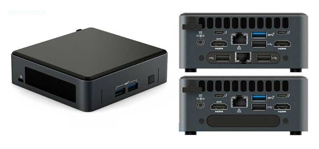 The tall NUC on the right with the xpandable add on module which can add a secondary output ports