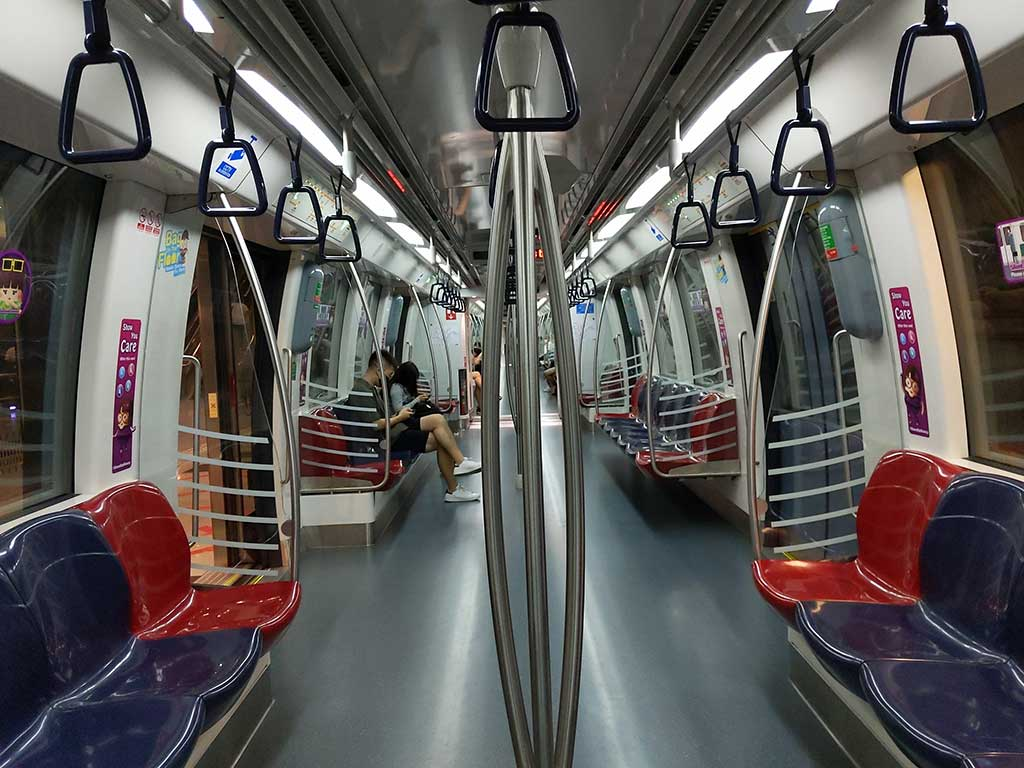 An empty MRT during peak travel period, an unreal sight