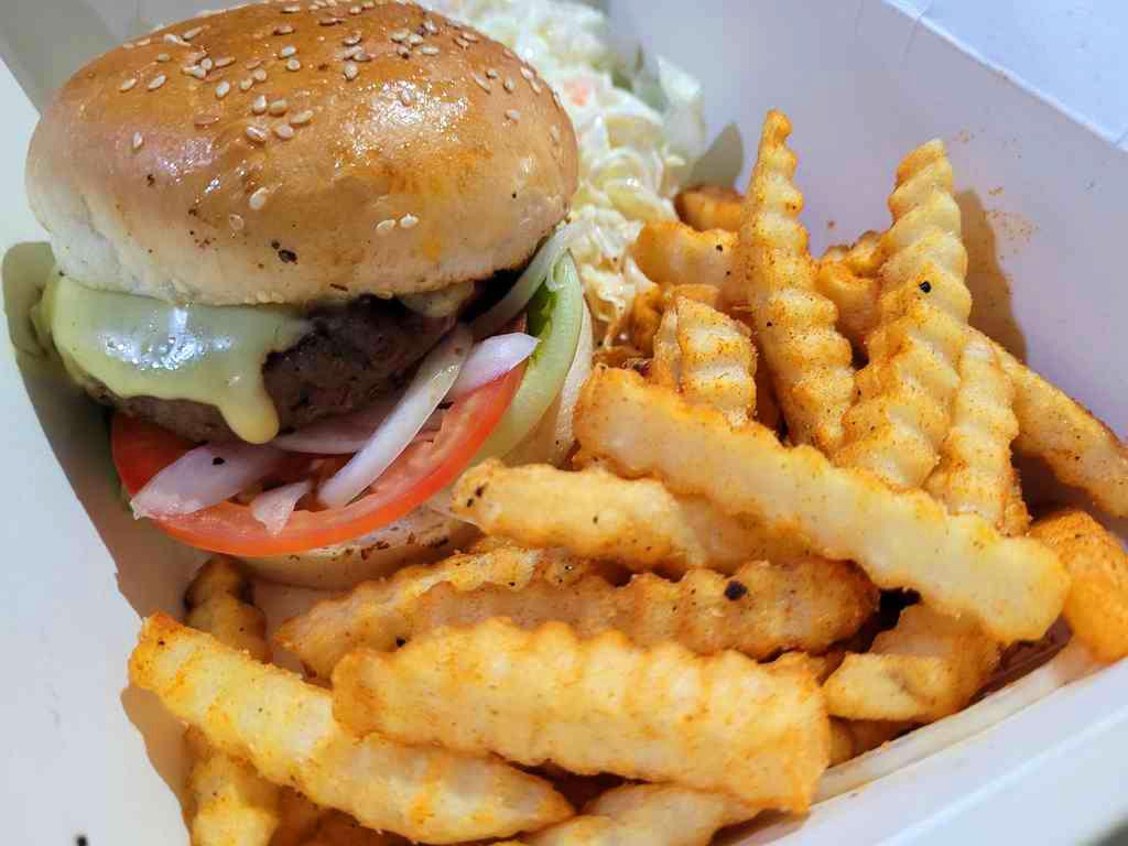 Original Botak Jones Botak Burger with Cajun Fries.