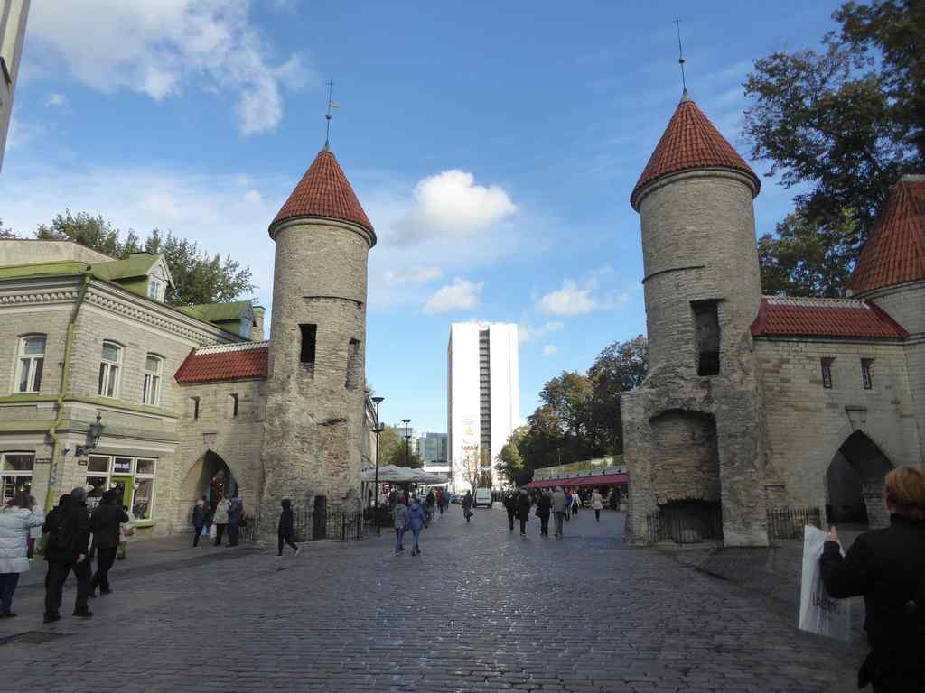 The iconic Viru gates at the shopping street leading into Tallinn old town